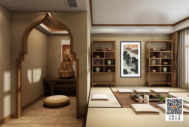 油画家李仙子字画之家装裱效果图场景悬挂图