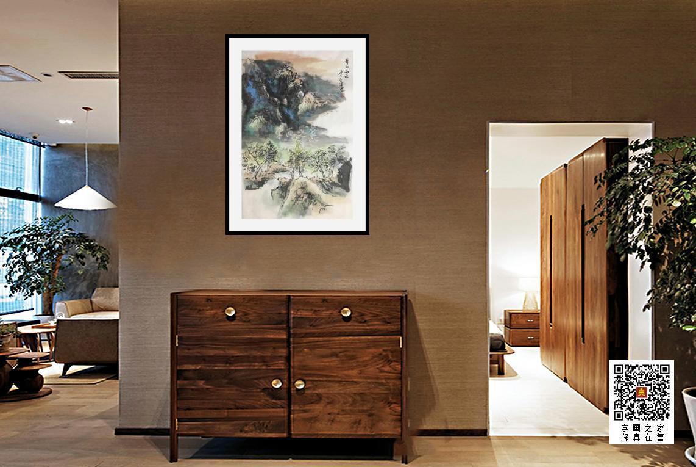 郭二林四尺三开竖幅青山雨后字画之家字画之家装裱效果图场景悬挂图