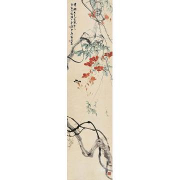 马万里庚辰(1940)年作藤蔓红花立轴设色纸本