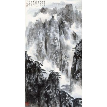 徐子鹤甲子(1984)年作黄山松云立轴设色纸本