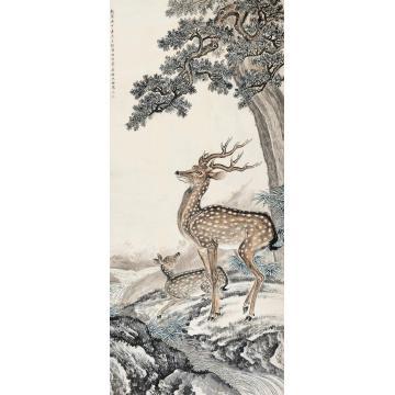 沈铨庚申(1740)年作双鹿镜片设色纸本
