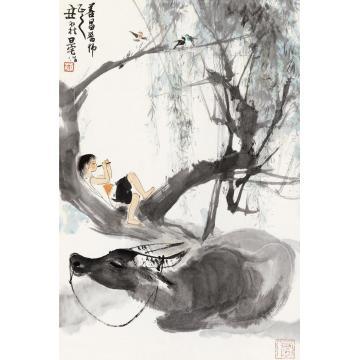 刘旦宅乙丑(1985)年作牧牛图立轴设色纸本