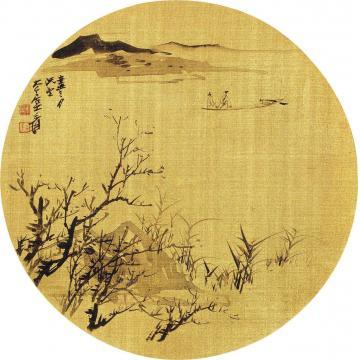 张大千辛丑(1961)年作泛舟图团扇片水墨金绢