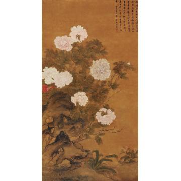 蒋廷锡壬寅(1722)年作富贵牡丹立轴设色绢本
