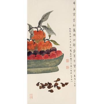 丁辅之丙戌(1946)年作长生乐吉镜框设色纸本