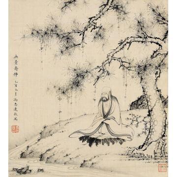 冯忠莲乙酉(1945)年作无量寿佛立轴水墨绢本