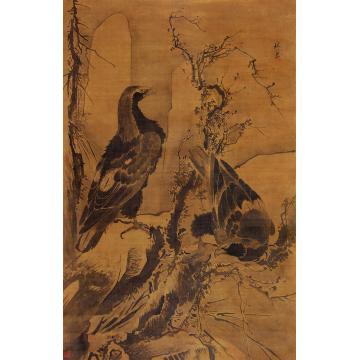林良(传)双鹰图立轴水墨绢本