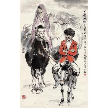 韩伍1988年作戈壁风情画心设色纸本
