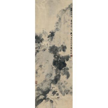 傅抱石1962年作松泉会友图立轴设色纸本