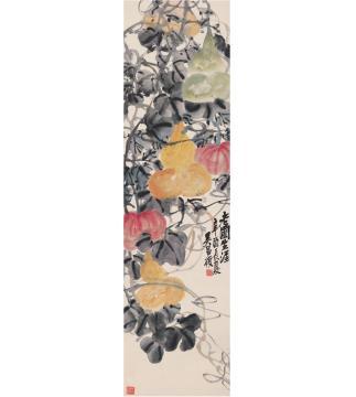 吴昌硕1921年作老圃生涯图立轴设色纸本