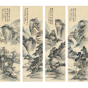 杨逸1920年作四时山水图四屏设色纸本