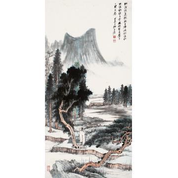 张大千戊子(1948)年作松荫兴归立轴设色纸本