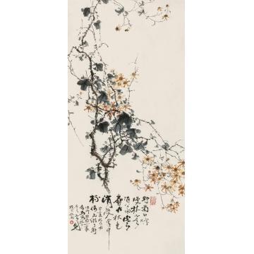 高剑父癸亥(1923)年作秋菊图立轴设色纸本