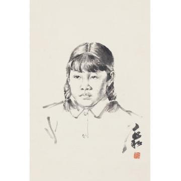 蒋兆和人物肖像立轴纸本