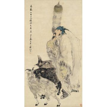 任伯年1882年作苏武牧羊图立轴设色纸本