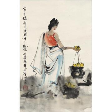杨之光傣族美女图立轴设色纸本