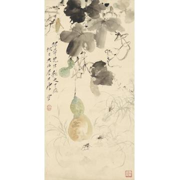唐云1947年作田园虫趣图立轴设色纸本