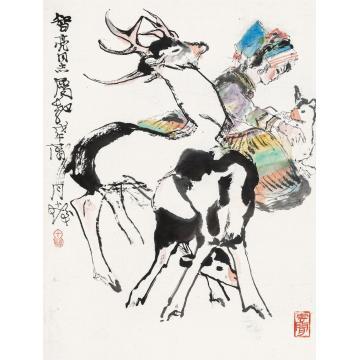 程十发戊午(1978)年作快乐图镜框设色纸本