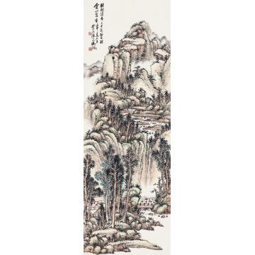 吴待秋壬申(1932)年作林峦飞瀑立轴设色纸本