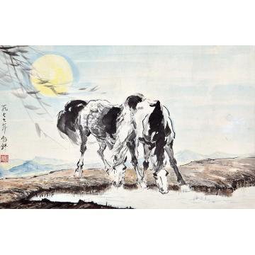 刘勃舒1997年作月下双马镜片设色纸本