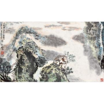 刘宝纯1989年作山居图立轴设色纸本
