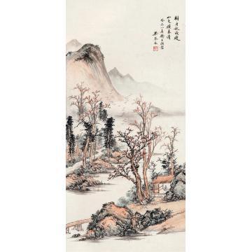 吴琴木1943年作秋山图立轴设色纸本
