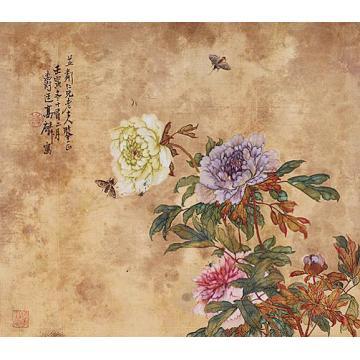 高剑父花卉镜片设色纸本