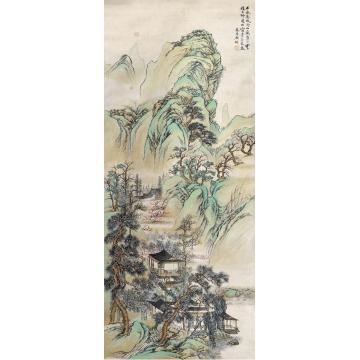 吴琴木山水镜片设色纸本