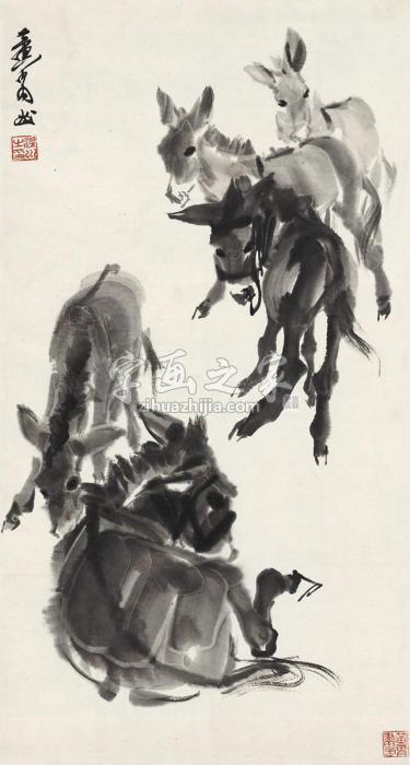 黄胄群驴图字画之家