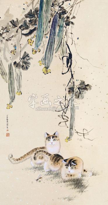 江寒汀双猫字画之家