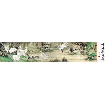 谷保荣2010年作柳塘集禽图手卷设色纸本