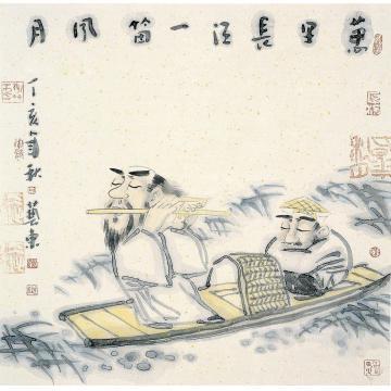 刘艺东2007年作一笛风月镜片设色纸本