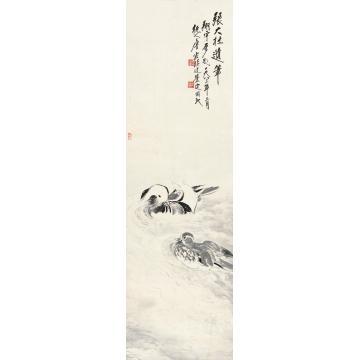 张大壮1983年作戏水鸳鸯立轴纸本