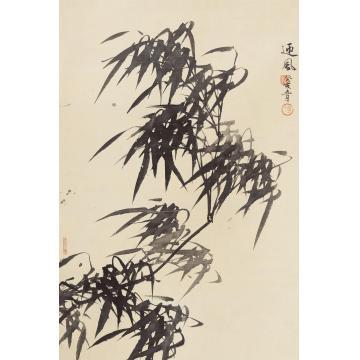 卢坤峰迎风立轴水墨纸本