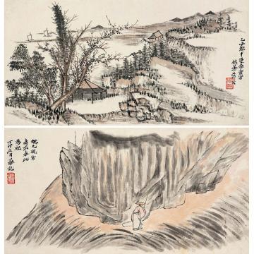 姚华丁卯(1927年)作山水(二帧)立轴纸本