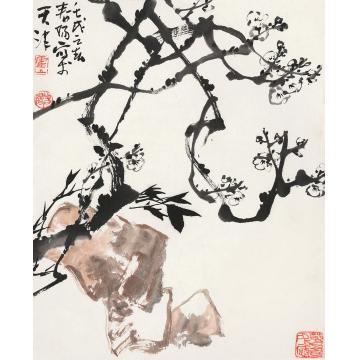霍春阳壬戌(1982年)作双清图镜心纸本