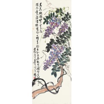 王个簃春花烂漫紫云飞镜心纸本