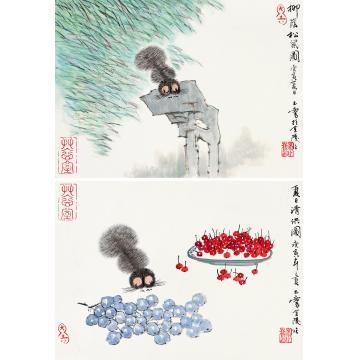 宋玉麟庚寅(2010年)作夏日清供图柳荫松鼠图镜心纸本