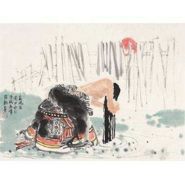 雕筠新甲申(2004年)作藏女洗发镜心纸本