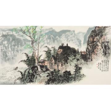 黄纯尧癸酉(1993年)作峡上人家镜心纸本