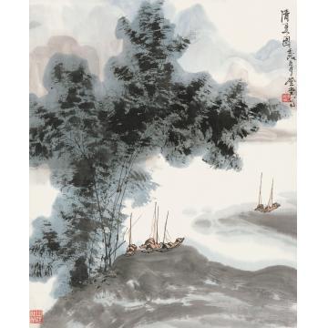 张登堂壬戌(1982年)作清夏图镜心纸本