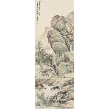 程璋癸亥(1923年)作柳荫牧马图立轴纸本