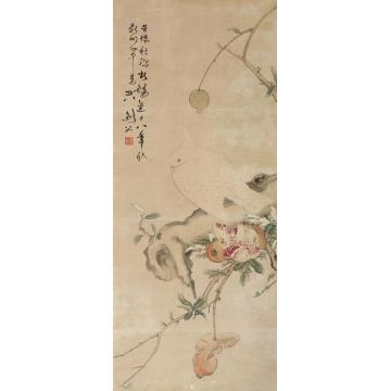 高剑父1929年作花鸟立轴纸本设色