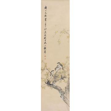 江寒汀1948年作花鸟立轴纸本设色