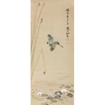江寒汀1933年作花鸟立轴绢本设色