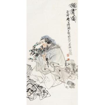 林墉己巳(1989)年作独赏图镜片设色纸本