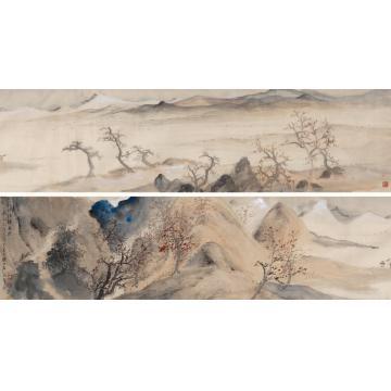 李劲堃1999年作秋江捕鱼图镜片设色绢本