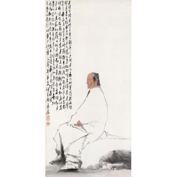 王子武甲子(1984)年作曹雪芹像立轴设色纸本