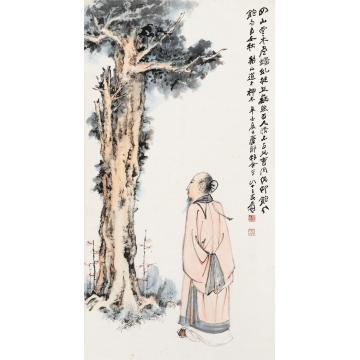 张大千辛酉(1981)年作神木高士立轴设色纸本
