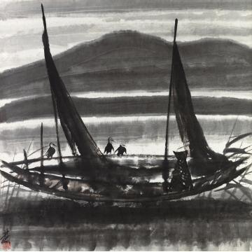 林风眠渔船镜片设色纸本
